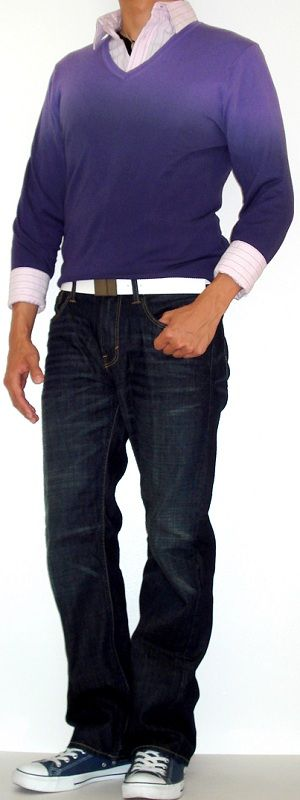 Mens Purple Gradient Sweater Pink Shirt Blue Shoes | Vêtements ...