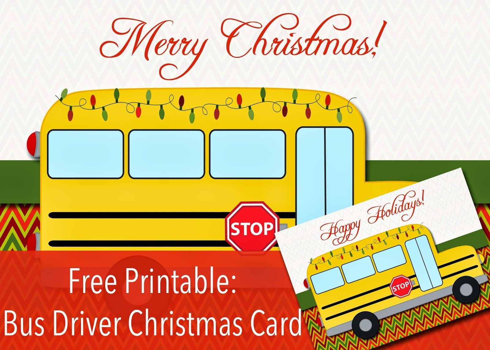 picture relating to Bus Driver Thank You Card Printable identify Totally free Printable: Bus Driver Xmas or Joyful Holiday seasons Card