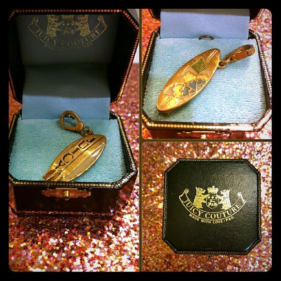 Juicy Couture Surf Board Charm Gold surf board charm. Juicy box included. Juicy Couture Jewelry