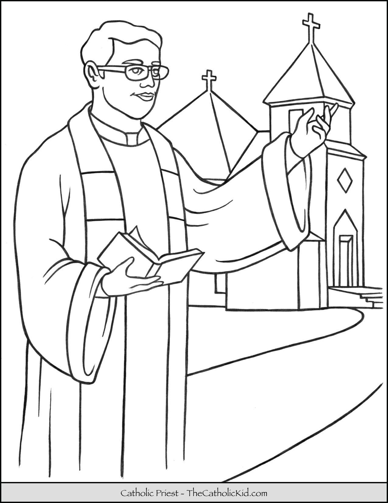 Catholic Priest Coloring Page Thecatholickid Com Catholic