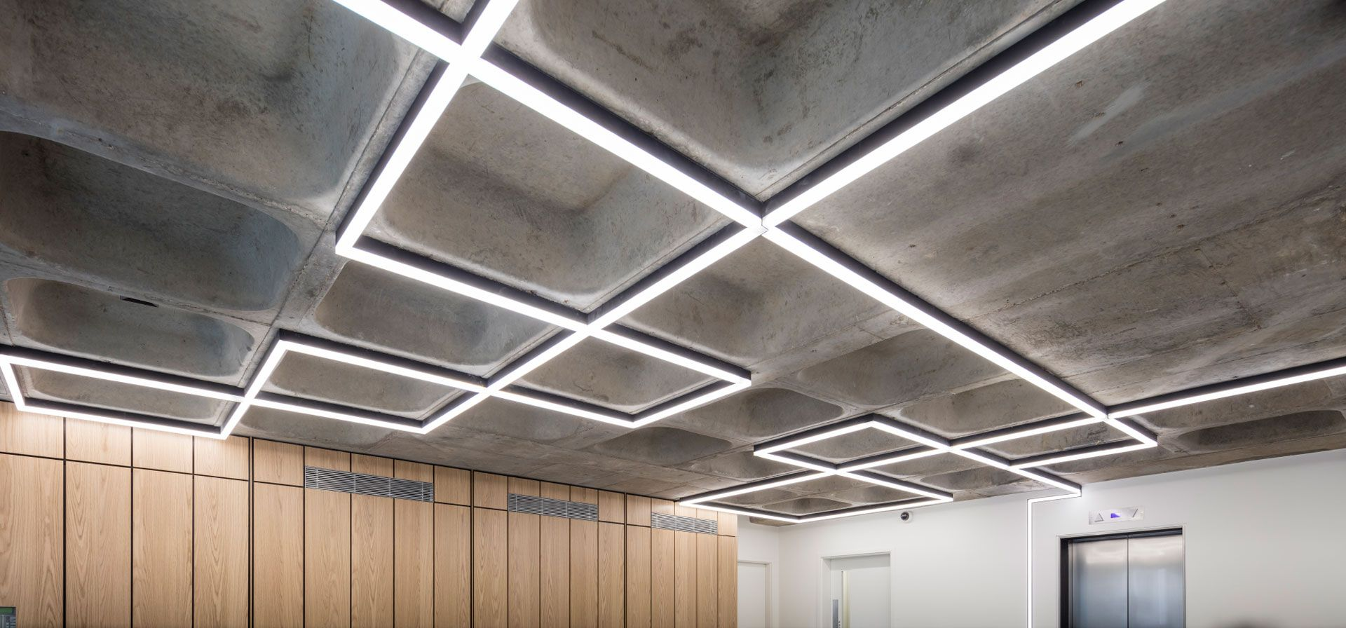 Image Result For Concrete Coffered Ceiling Coffered Ceiling Lighting Coffered Ceiling Ceiling Lights