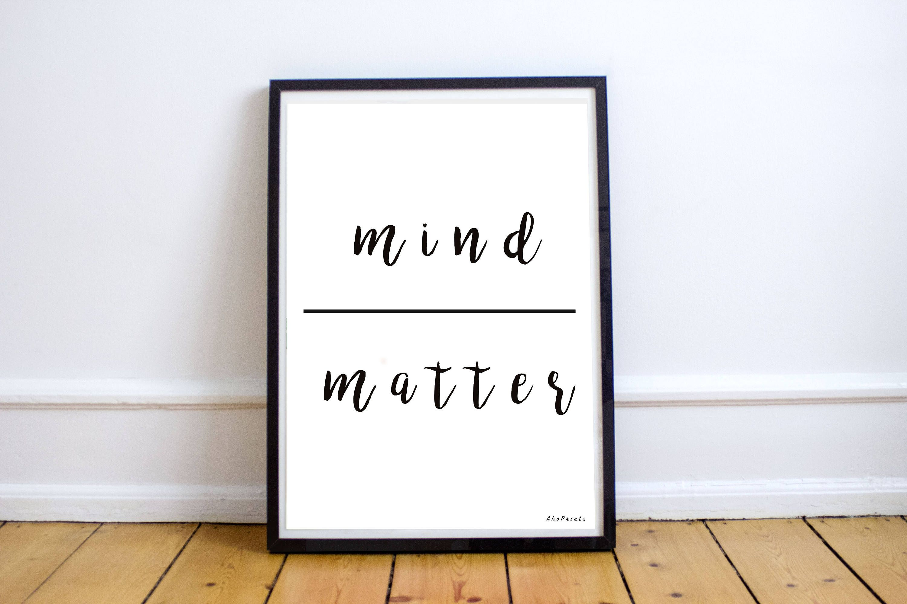 inspirational office decor. Mind|Matter. Typography. Printable Gift. Inspirational Words. Encouraging Print. Office Decor P