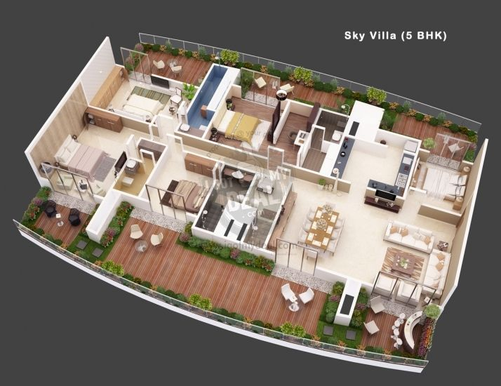 Villa 5 3d house plans floor plans pinterest villas house and 3d Plan your house 3d