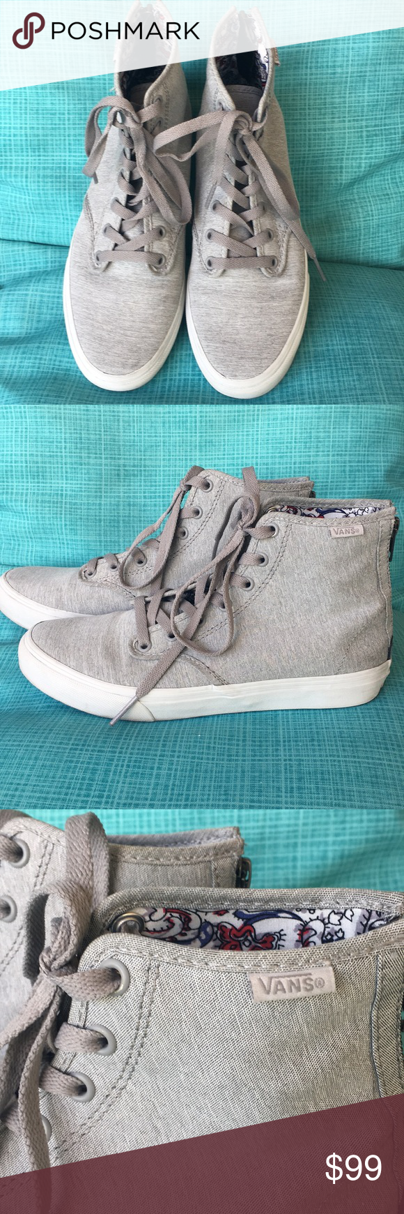 e767e5310c746d Spotted while shopping on Poshmark  VANS Ladies Zip Up High Tops in Gray  Size 8!  poshmark  fashion  shopping  style  Vans  Shoes