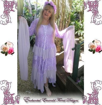 Gypsy Stevie Nicks Style Lavender Wedding Dress Set Other Colours Sizes Enchanted Emerald Forest Designs