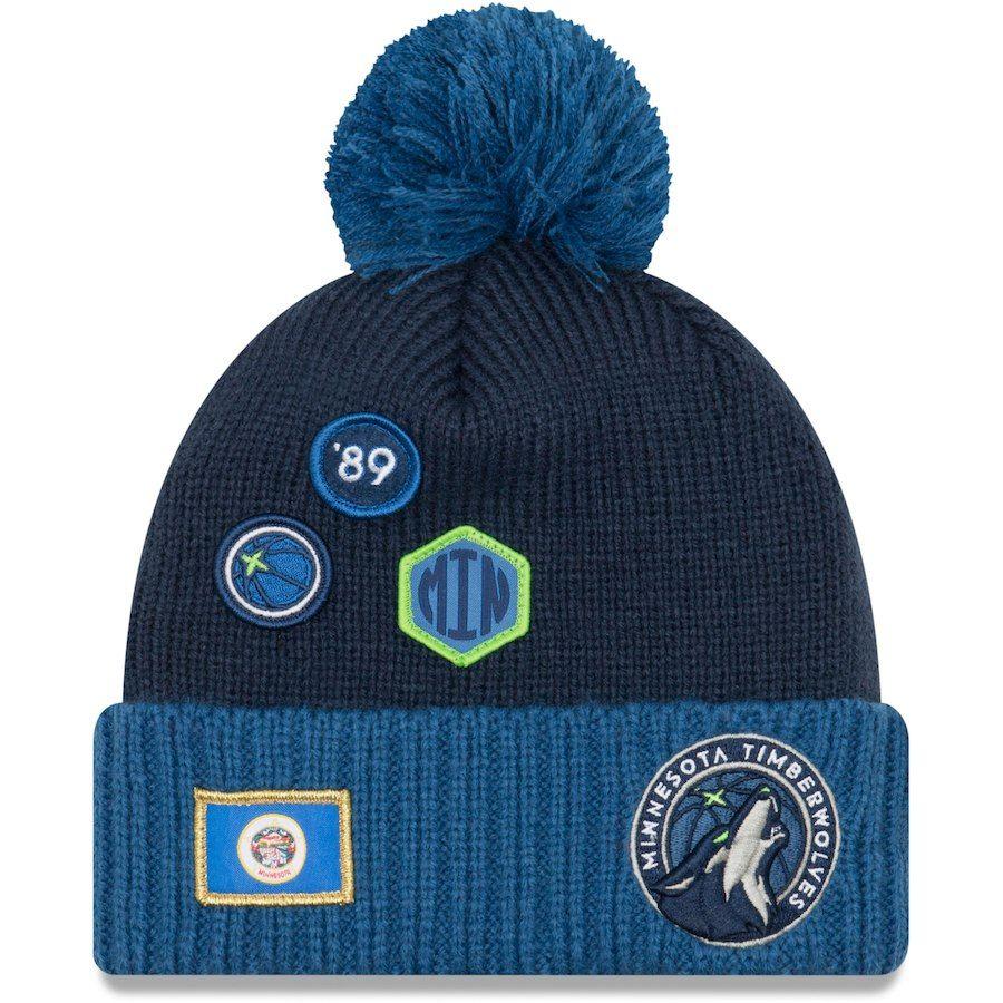 de835377ee875 Youth Minnesota Timberwolves New Era Navy 2018 Draft Cuffed Knit Hat With  Pom