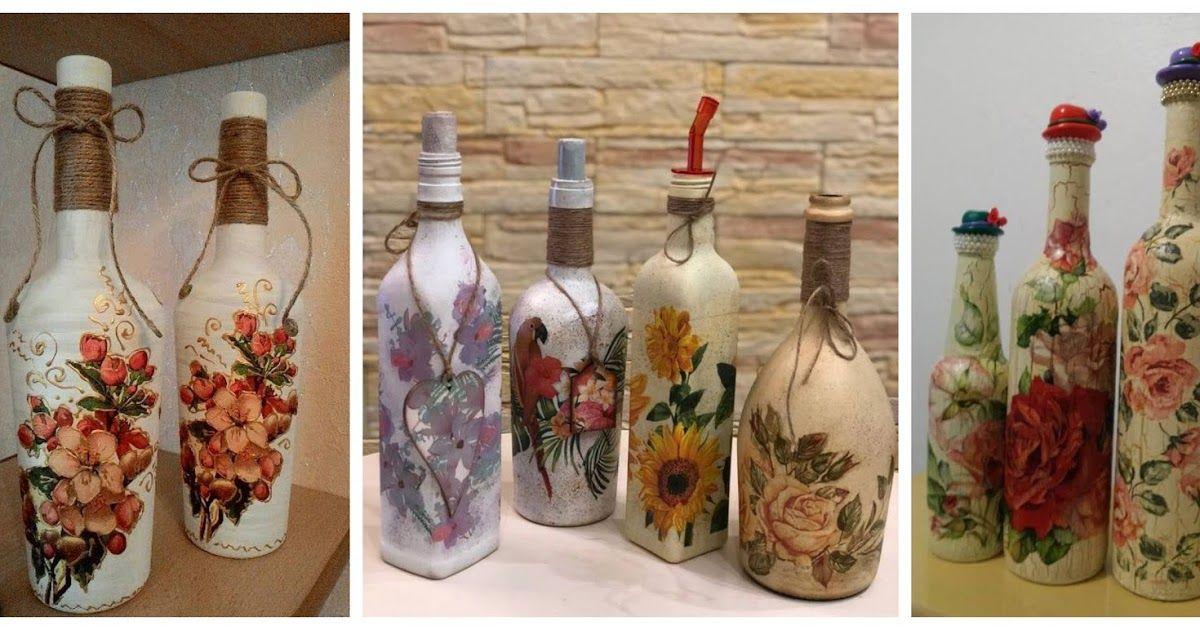 Decora Tus Botellas De Vidrio Recicladas Con Servilletas De Decoupage Bottles Decoration Decoupage Christmas Crafts