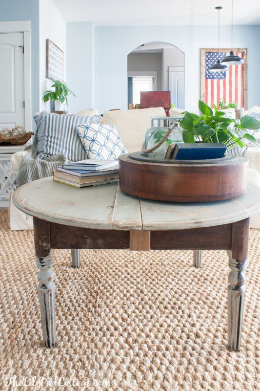 distressed round grey coffee table - Distressed Living Room 2016