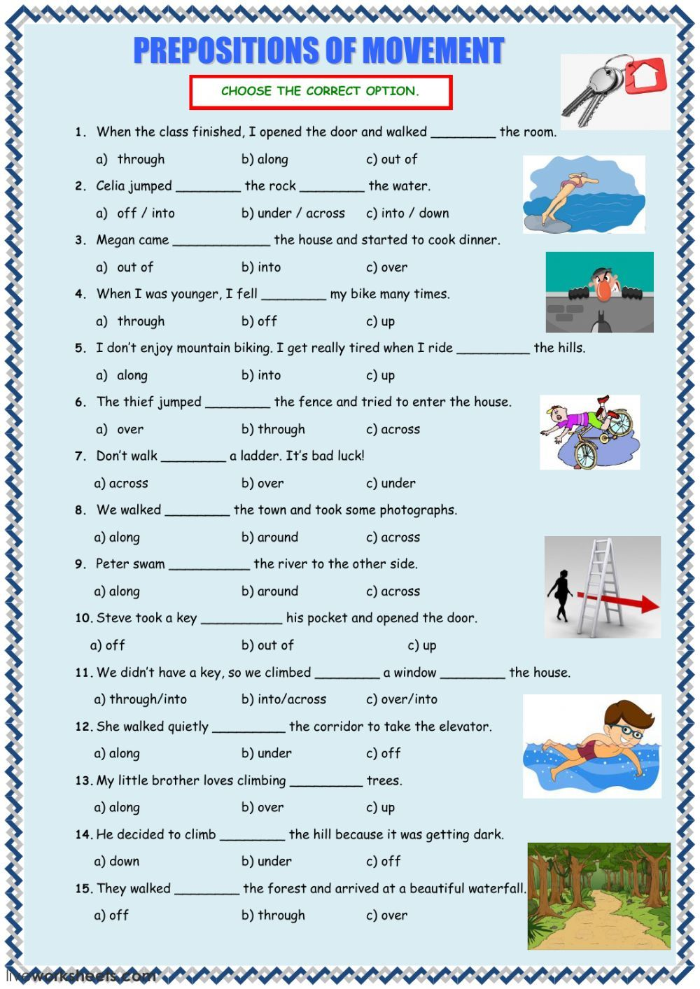 Prepositions of movement interactive and downloadable worksheet. You can do  the exercises online or downloa…   Preposition worksheets [ 1413 x 1000 Pixel ]