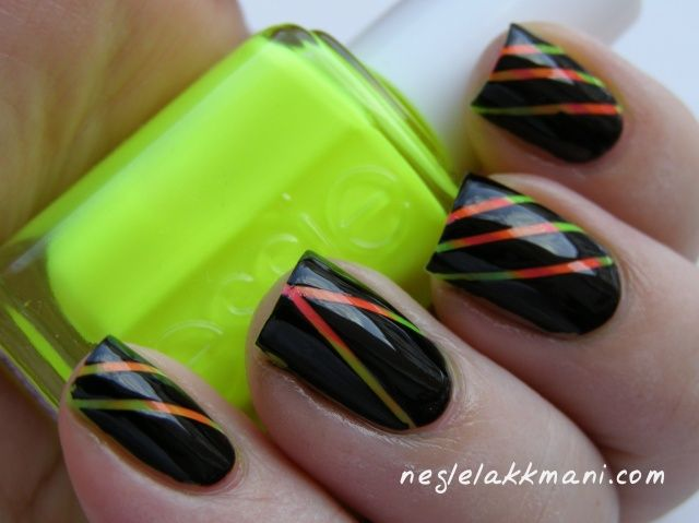 A Little Hint Of Neon Taping Nail Art With Sponged Colors