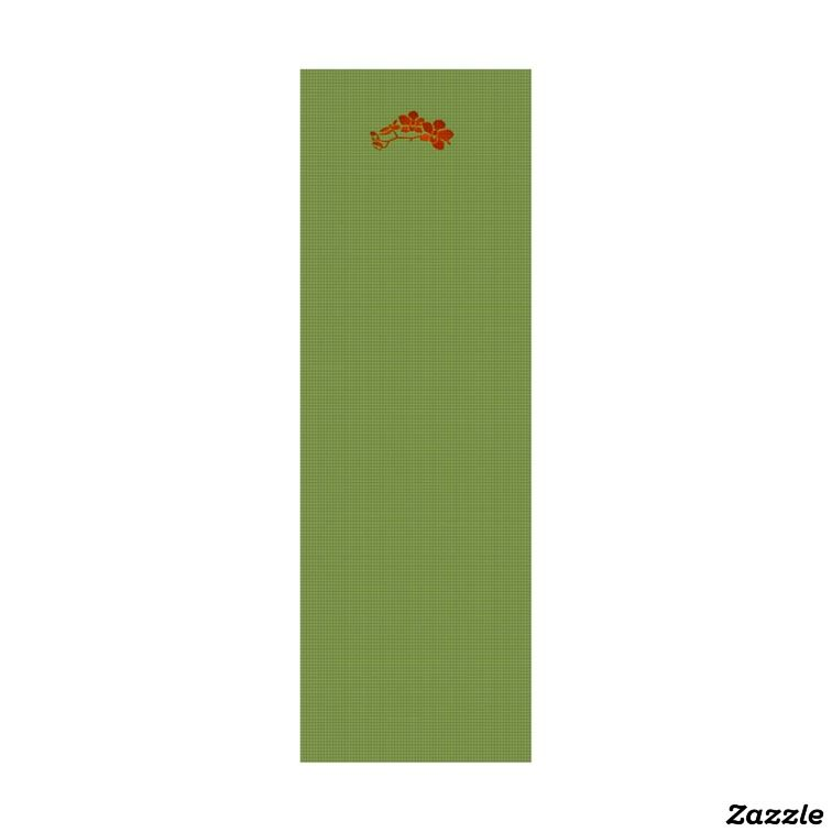 Orchid Branch Yoga Mat Aloe/Orange,made by Aspen Yoga Mats