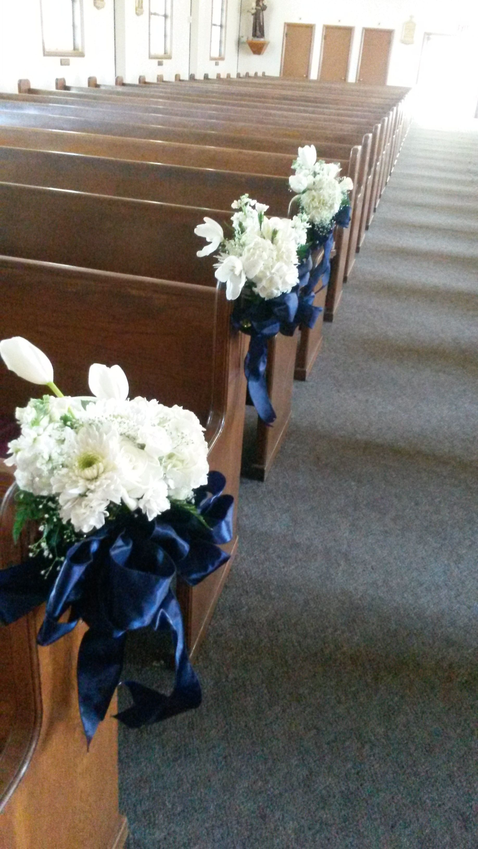 Pew Decor White Flowers With Navy Blue Ribbon Church Wedding