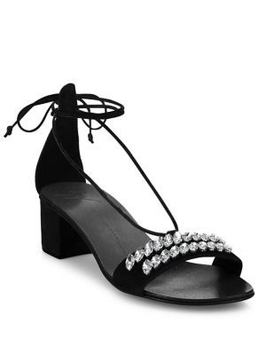 GIUSEPPE ZANOTTI Crystal-Embellished Suede Ankle-Tie Block-Heel Sandals. #giuseppezanotti #shoes #sandals