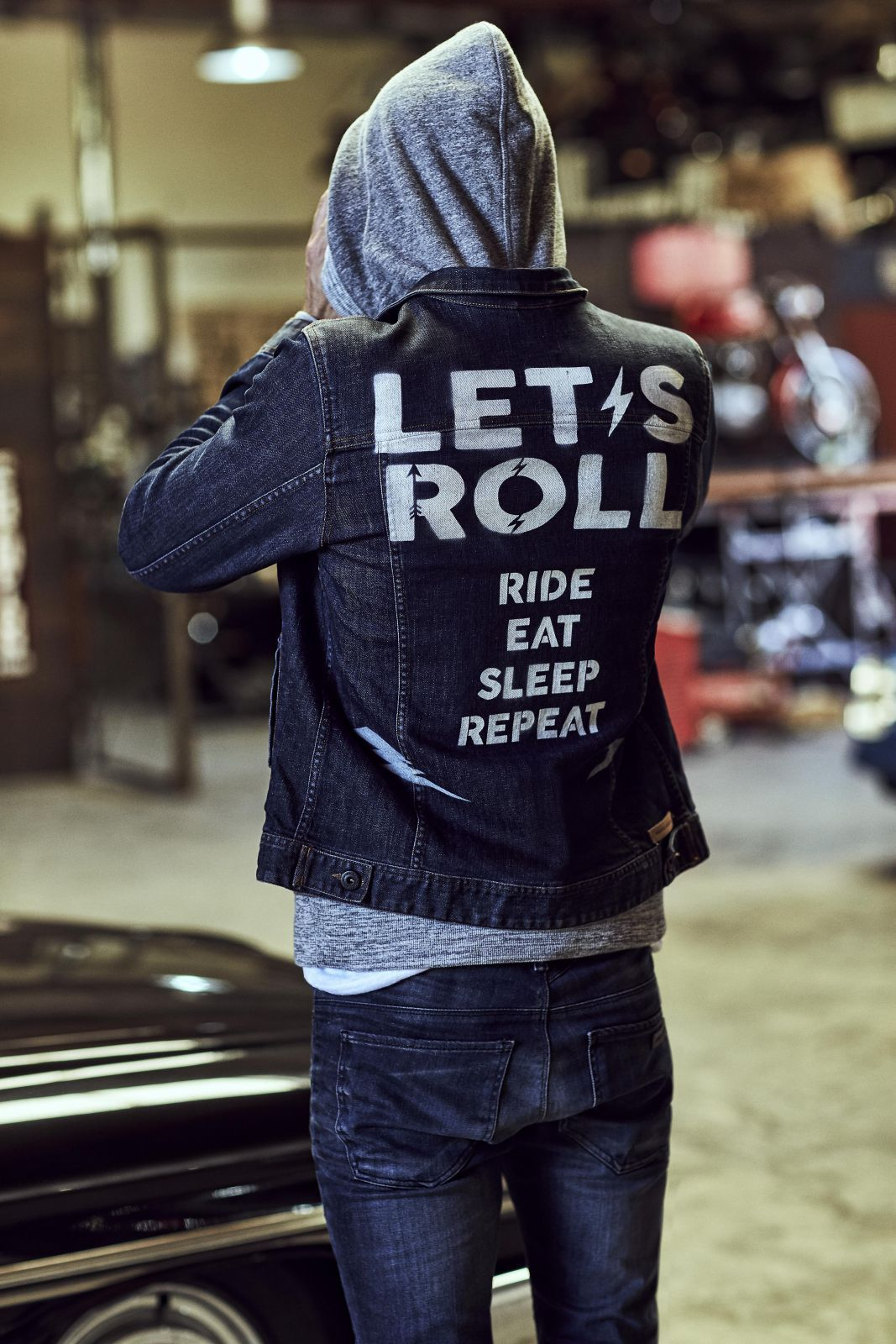 HERENCIA CUSTOM GARAGE Painted denim jacket, Denim