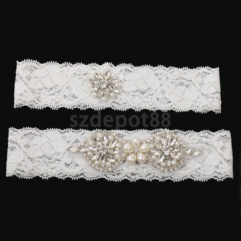 5bc4aad3a Wedding Bridal Garter Set Lace Garter Belt Rhinestone Pearl 1 To Keep 1 To  Throw