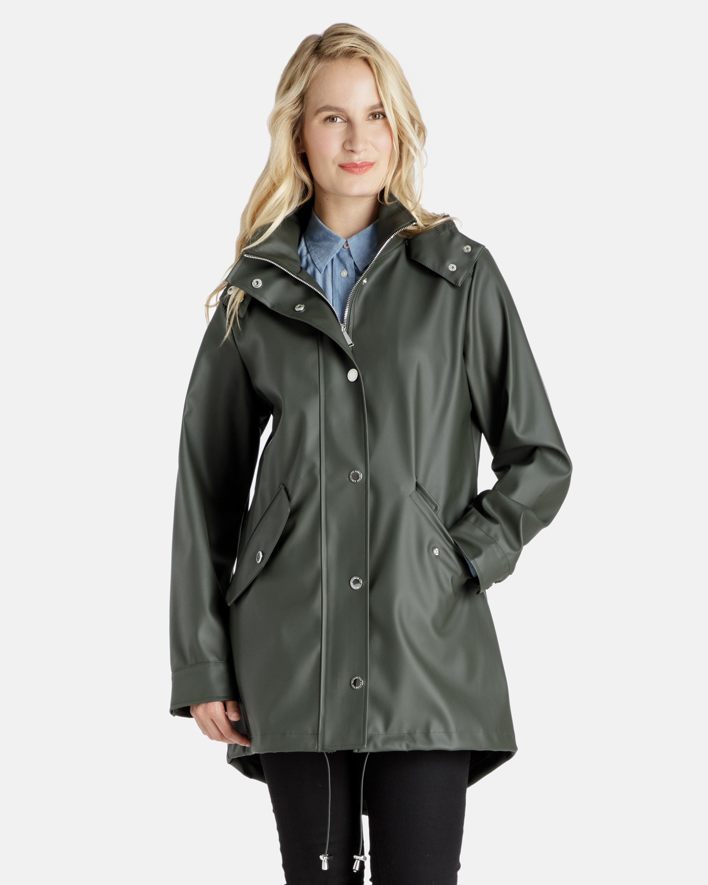 2576d036dfb Michaela Rubberized Rain coat with Removable Hood - Women s Raincoats -  Coats for Women - Women