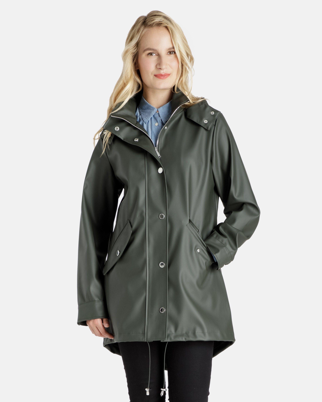 b0198b50237 Michaela Rubberized Rain coat with Removable Hood - Women s Raincoats -  Coats for Women - Women