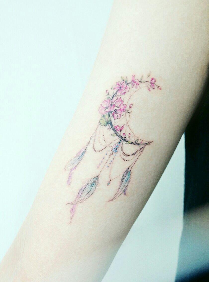 Traumfanger Dreamcatcher Mond Pastell Aquarell Wasserfarbe Ink