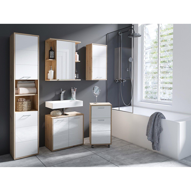 Waschbeckenunterschrank Worland Spiegelschrank Bad Waschbecken