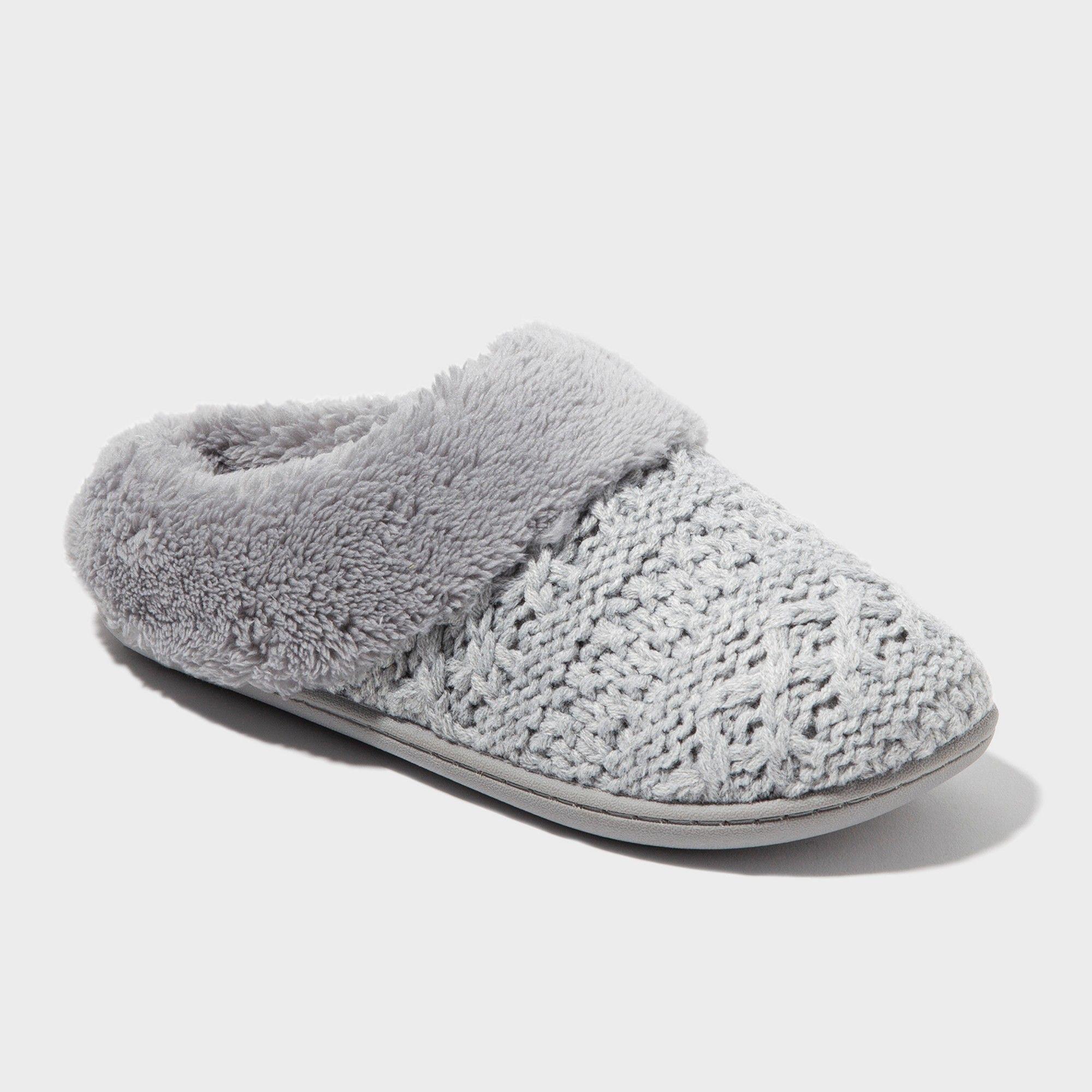 fa35d9be715 Women s dluxe by dearfoams Carol Knit Scuff Slippers - Gray XL ...