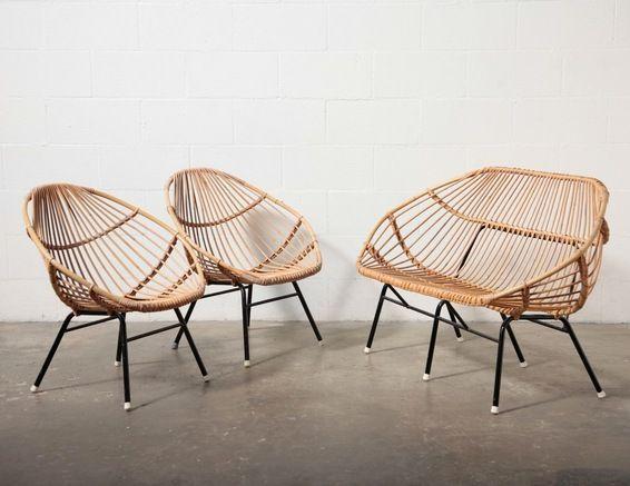 Rattan Vintage Interior Design Bamboo Sofa Modern Patio Furniture Wicker Furniture Cushions