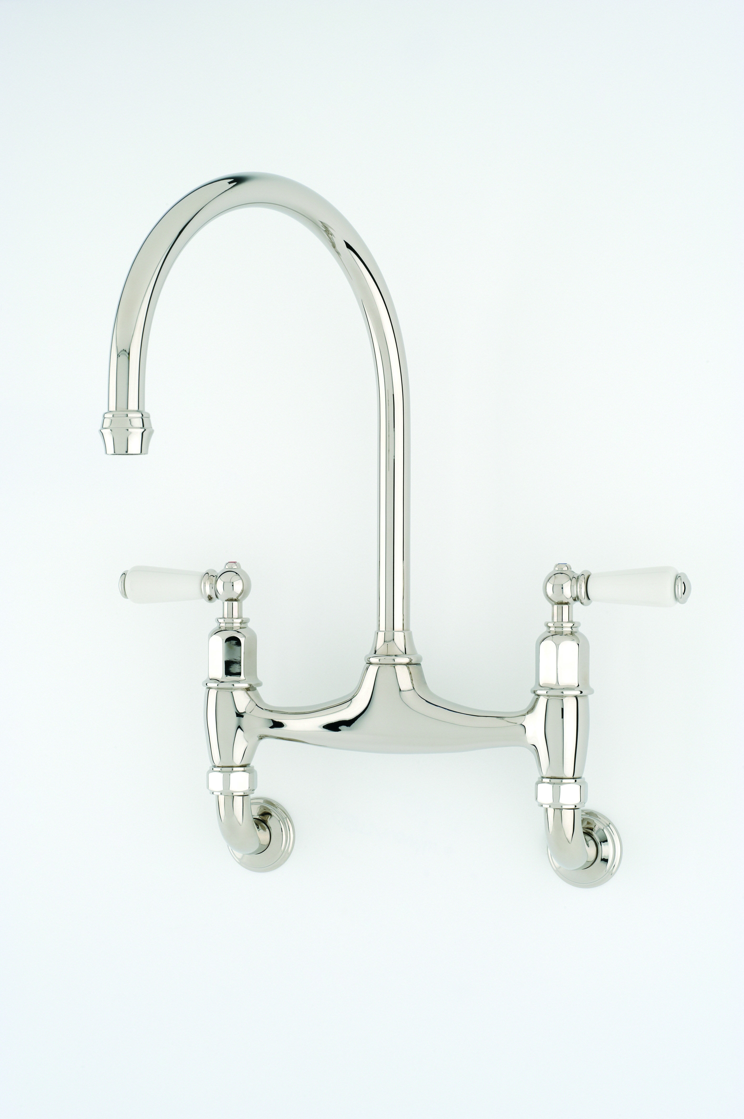 Perrin & Rowe Ionian Wall Mounted Sink Mixer in Nickel with White ...