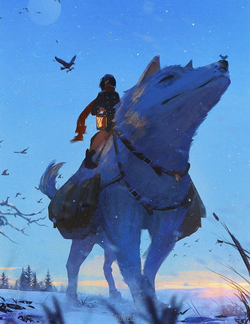 Messenger By Guweiz Riding Mount Dog Wolf Ranger Winter Worg Monster