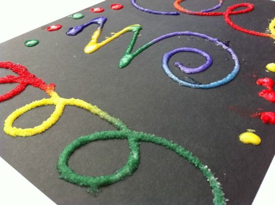 Put glue on paper in designs, pour salt over it and then drop small watercolor paint droplets and watchthe colors grow!
