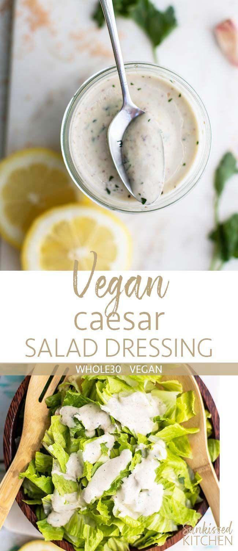 Vegan Caesar Dressing / The best vegan caesar salad dressing! An easy to make comination of cashews, dijon, lemon juice and spices. Make a summery vegan salad!   SUNKISSEDKITCHEN.COM   #vegan #caesar #salad #vegandressing