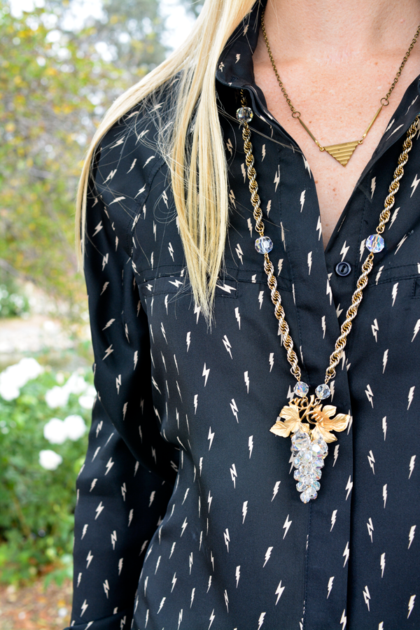 I love a good blouse! My favorite Erin Wasson for RVCA women's shirt is part of my go-to outfit. Plus I can't stop wearing my grandmother's vintage crystal grapes necklace.