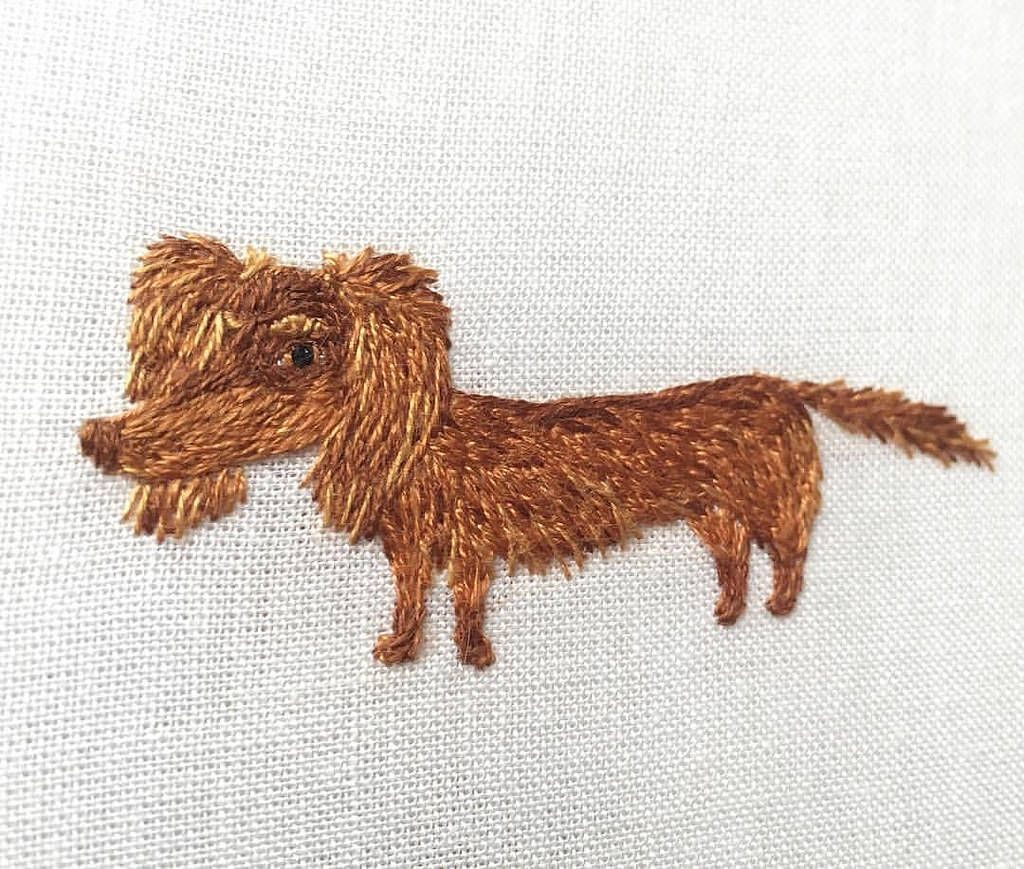 Day 13 of #the100dayproject - and funny dog embroidery for you! Today a chocolate long dog for a long and sweet sunday:heart:️:dog::cake: inspired by cute dachshund @chocovanilla4530 #makikoart #dackel #dachshund #dachshundmix #chocolatedog #sweetdog #fun