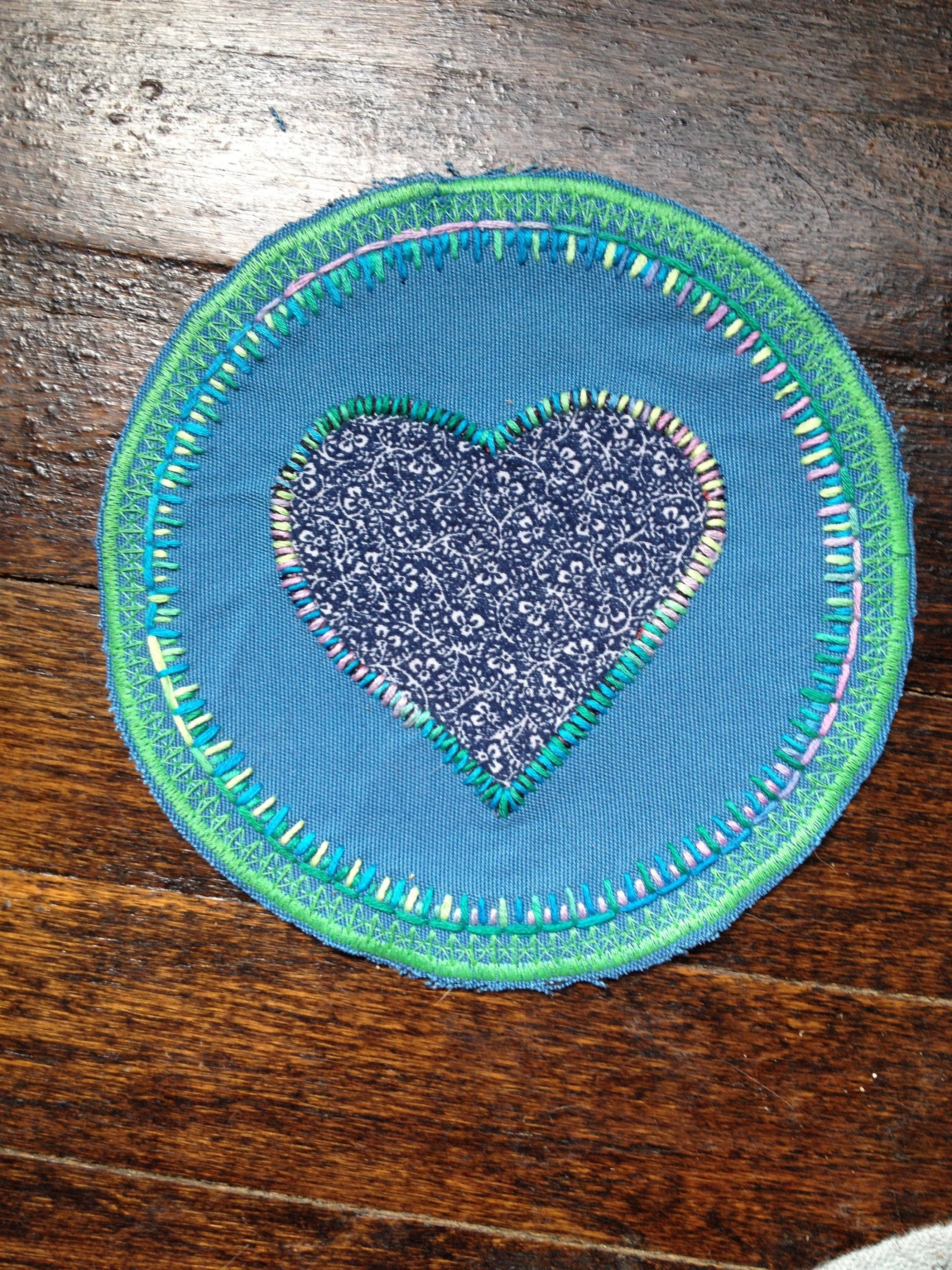 Turquoise Blue Heart Flower Embroidery Patch