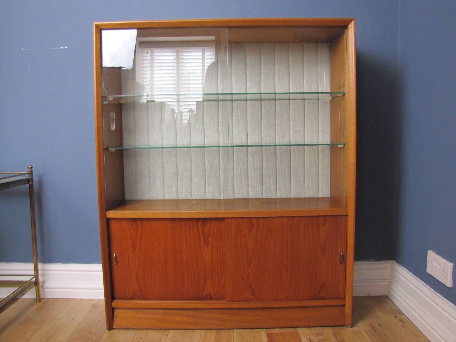 Mid Century Teak Herbert Gibbs Display Cabinet Bookcase Sliding