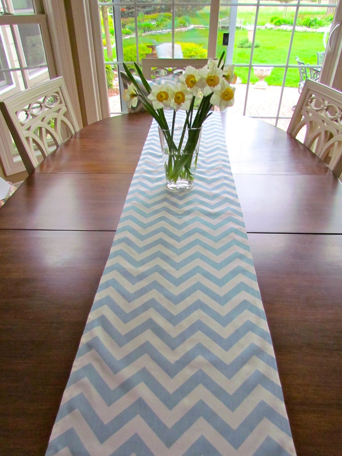 spa blue table runner wedding showers 13 x 72 chevron table runners holiday party table cloth decorative blue baby shower via etsy baby shower ideas for