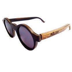 gafas de madera hechas a mano en España modelo Soho madera de ébano combinada con una varilla de zebrano