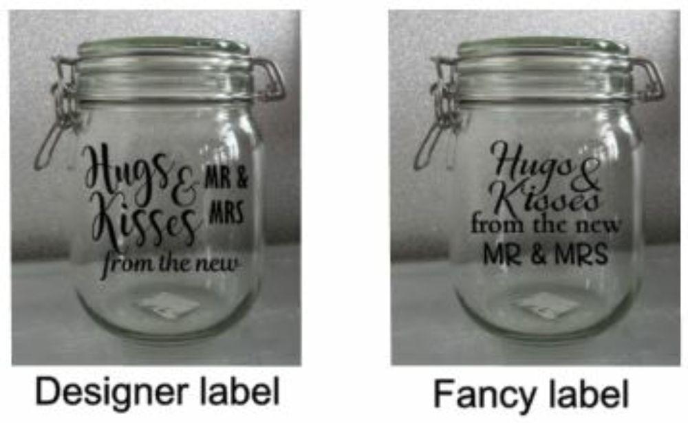 Wedding Jar Stickers Table Decorations Hugs Kisses Mr Mrs Favours