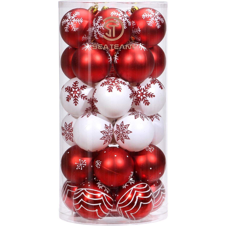 60mm 2 36 Delicate Contrast Color Theme Painting Glittering Christmas Tree Pendants Decorative Hanging Christmas Baubles Balls Ornaments Set 30 Pieces Red Red And Gold Christmas Tree Ornament Set Ball Ornaments