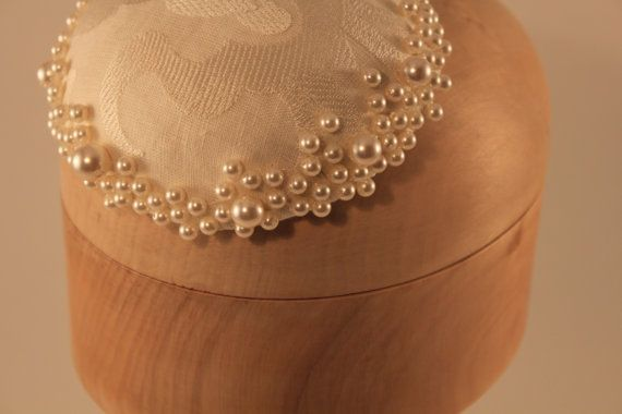 Cream Pearl Button Fascinator wedding bridal by Ittybittyhatshop, $70.00