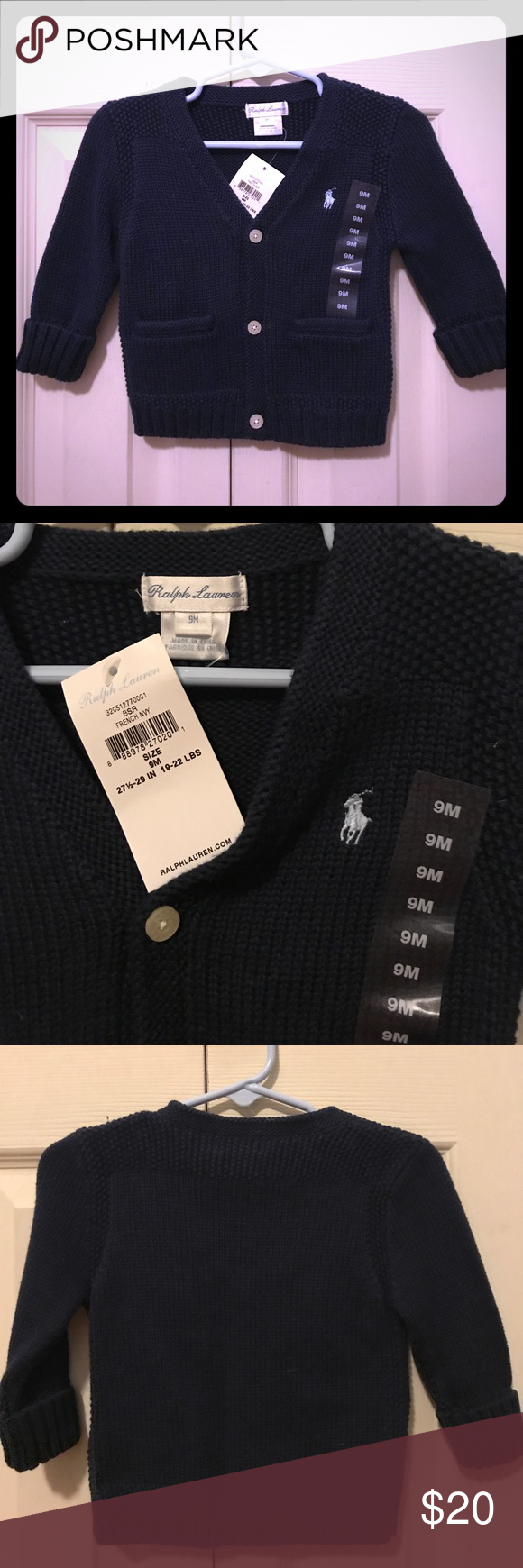 Gorgeous BNWT Ralph Lauren cardigan for baby boy Navy blue 3-button cardigan with 2 pockets. Size 9 months. Fits 19-22 lbs. Ralph Lauren Shirts & Tops Sweaters