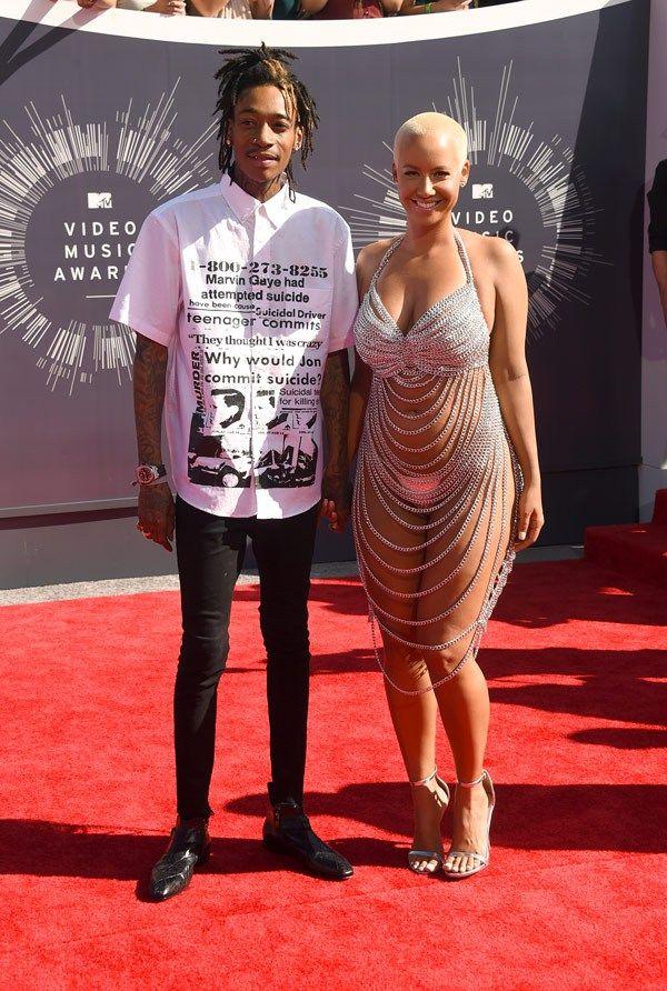 Wiz Khalifa Amber Rose Mtv Vma 2014 Amber Rose Fashion Vmas Red Carpet