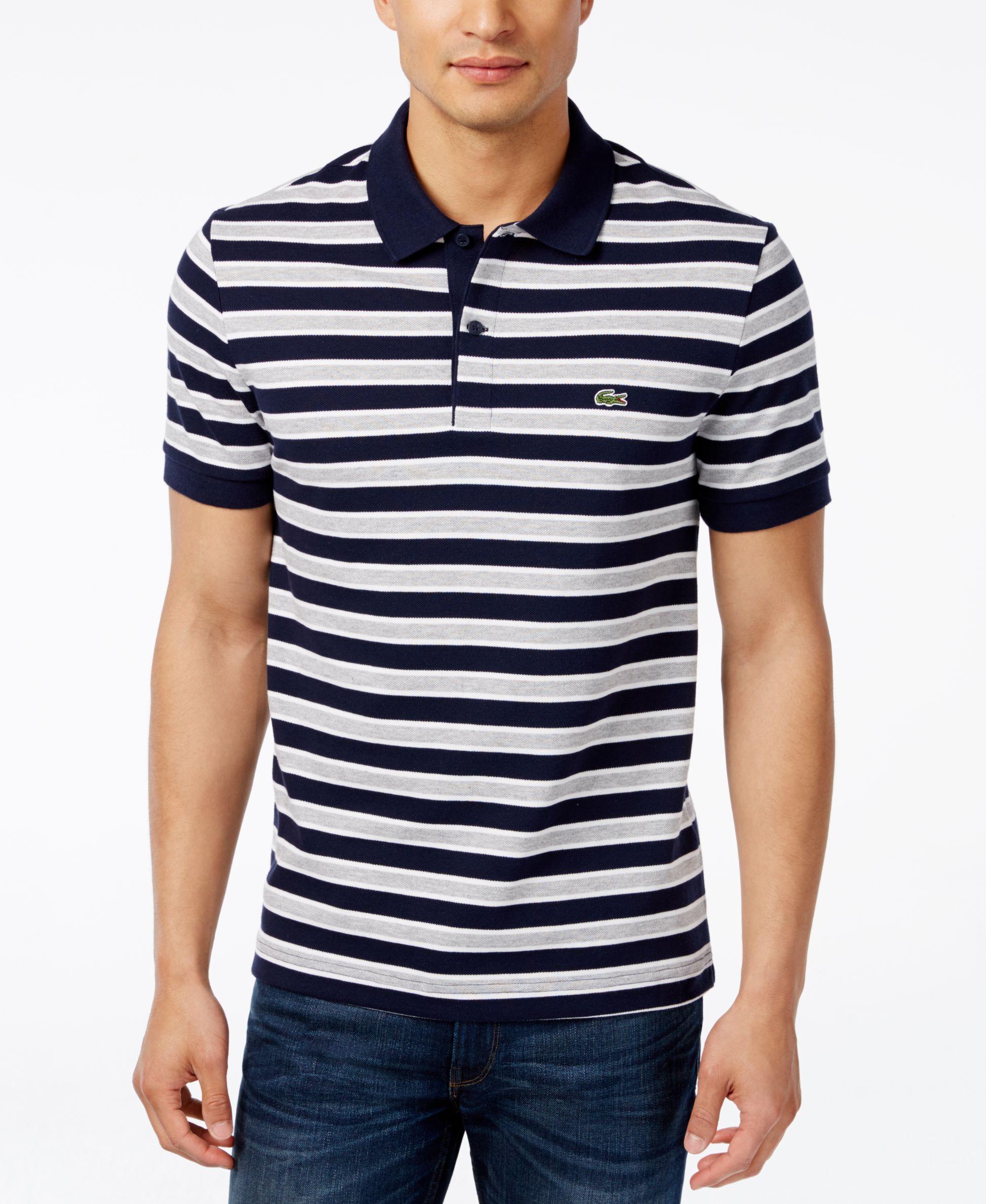 19c20322 Lacoste Men's Stripe Pique Polo | Shots | Lacoste men, Polo, Mens ...
