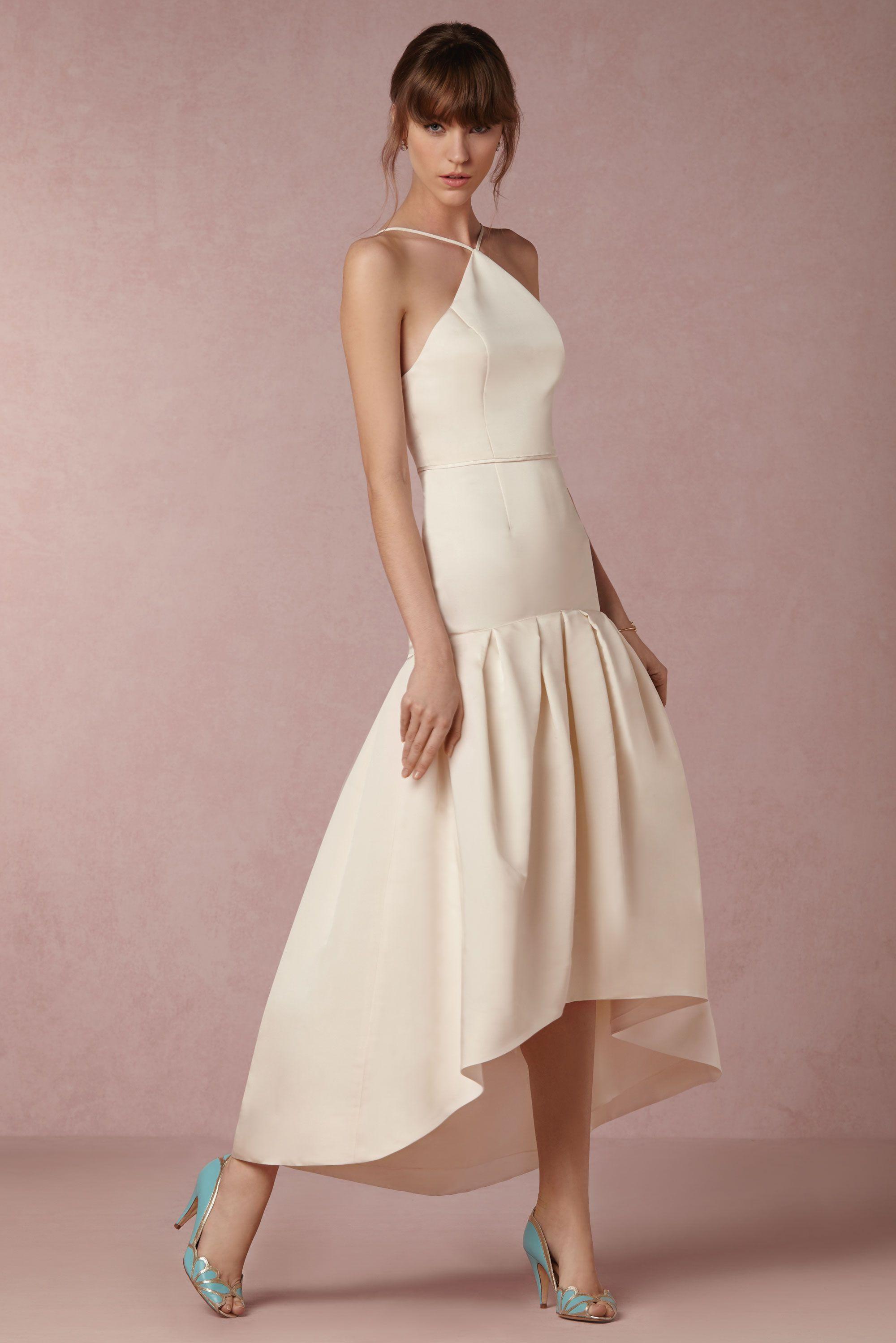 Ivory silk-taffeta dress with high low hem from Jill Stuart  795773612