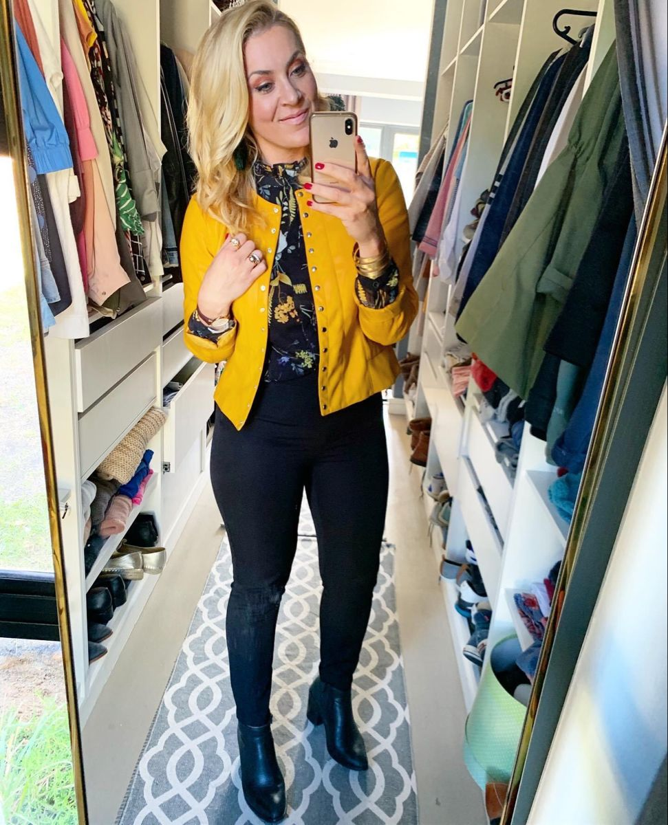 Black and Yellow - / #yellowjacket #floral #blackpants #createthelook #yes #imageconsultant #styleityourself #wearitloveit