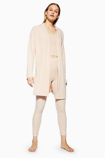 7a8d24de4f75 Womens Brushed Ribbed Lounge Robe - Nude