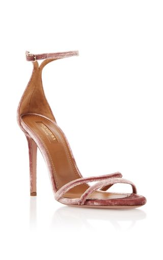 b1d4dccd5c6934 Aquazzura s sandals are crafted from plush velvet in a feminine  antique-rose hue. Set on a thin stiletto heel