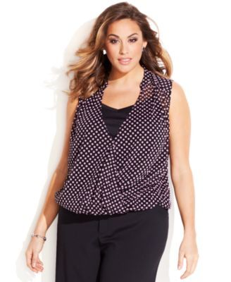 abfbb80fa01 INC International Concepts Plus Size Dot-Print Faux-Wrap Top ...