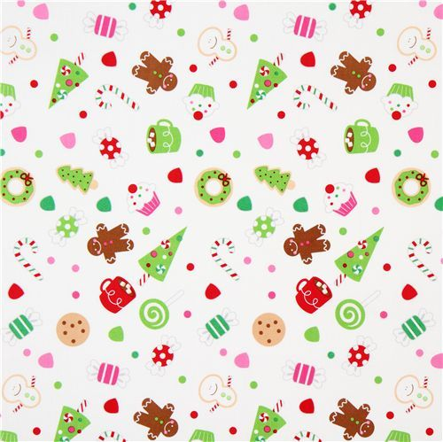 white Riley Blake Christmas fabric cute Xmas | Christmas Fabric ...