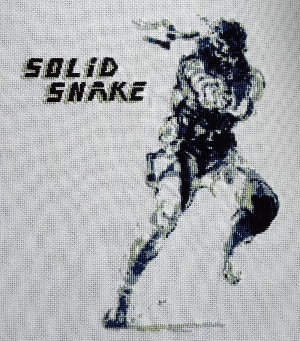 Thought I'd share a Solid Snake cross stitch I made #MetalGearSolid #mgs #MGSV #MetalGear #Konami #cosplay #PS4 #game #MGSVTPP