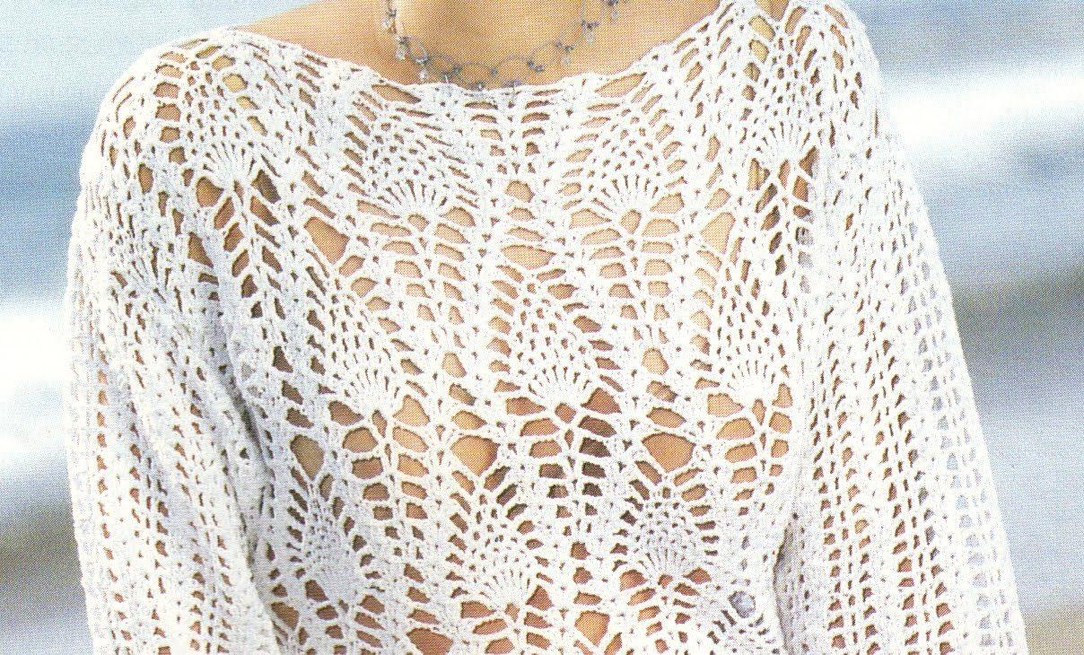 Suéter Calado puntada piñas a crochet | Shirts, Sweaters, Tops ...