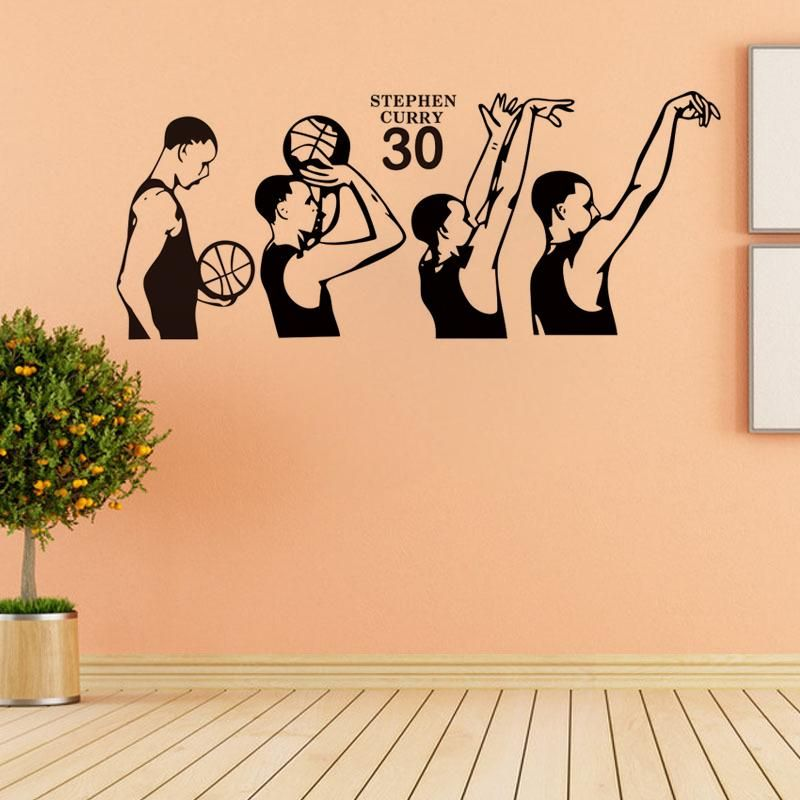 basketball superstar Stephen Curry shooting action vinyl wall decal ...